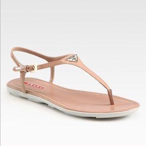 Prada Patent Leather T-Strap Sandal 9